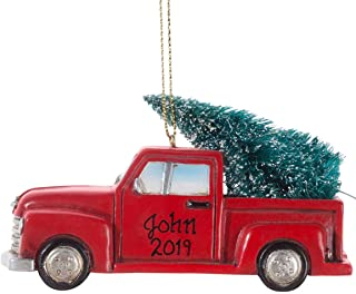 HOLIDAY PEAK Personalized Red Truck with Tree Ornament