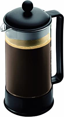Bodum Brazil French Press Coffee Maker, 34 Ounce, 1 Liter, (8 Cup), Black (Renewed)
