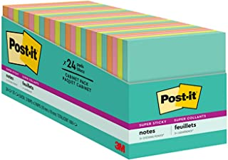 Post-it Super Sticky Notes, 3x3 inches, 24 Pads, 2x the Sticking Power, Miami Collection, Neon Colors (Orange, Pink, Blue,...