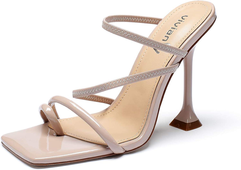vivianly Women Square Toe Mules Sandals Ring Heels shopping Cheap bargain Stiletto