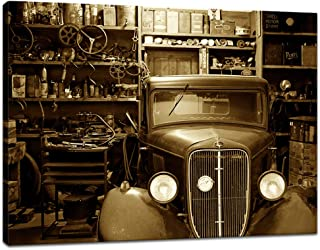 Innopics Vintage Car Rustic Workshop Canvas Giclee Print Black and White Auto Repair Shop Picture Painting Modern Garage Retro Wall Art Decor Framed for Home Office Living Room Decoration 32