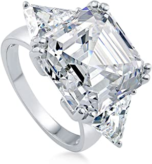 Rhodium Plated Sterling Silver Asscher Cut Cubic Zirconia CZ Statement 3-Stone Anniversary Engagement Ring 16.16 CTW
