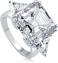 BERRICLE Rhodium Plated Sterling Silver Asscher Cut Cubic Zirconia CZ Statement 3-Stone Anniversary Engagement Ring 16.16 CTW