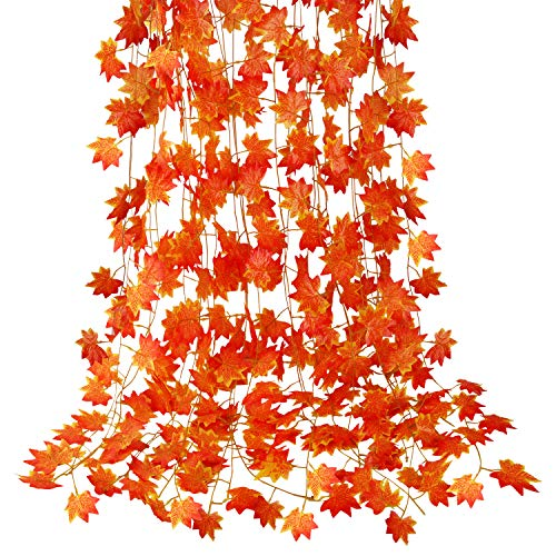 CQURE 12 Pack Fall Leaf Garland, Hanging Vines Garland Artificial Fall Maple Leaves Garland Thanksgiving Decor for Home Wedding Fireplace Party…