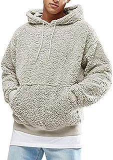 Hertsen Maglia, Felpa sherpa da uomo in pile lanuginoso, con cappuccio, morbida, a maniche lunghe, con tasca frontale, abb...