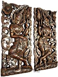 """Sawaddee Welcome Sign with Lotus Flower Wood Carved Wall Art Sculpture. Asian Inspired Home Decor. Size 17.5""""x7.5""""x1 Each, Set of 2 Pcs."""