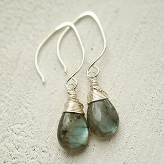 Labradorite Earrings Lotus Ear Wire Sterling Silver