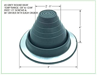EAGLE 1 EPDM Flexible Roofing Pipe Flashing Boots - On Site Adjustable Roof Pipe Jack Boot with Round Base (Standard Gray, 3)