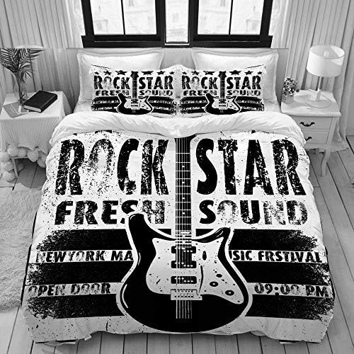 Juego de Funda nórdica, Guitarra eléctrica Dibujada a Mano Cool Grunge, Juego...