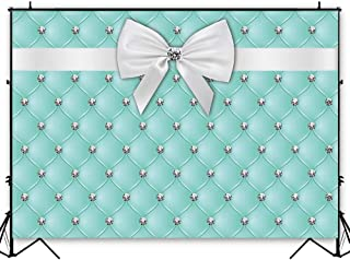 Funnytree 8x6ft Durable Fabric Diamonds Bowknot Co Blue Tufted Backdrop No Wrinkles Breakfast Sweet 16 Birthday Party Background for Photography Bridal Shower Adults Banner Baby Girl Photo Booth