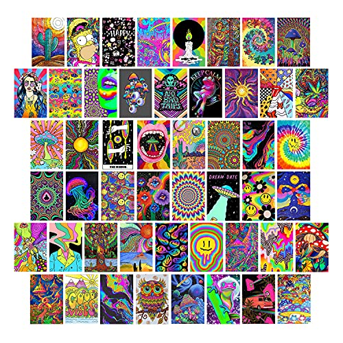 Trippy Room Decor, Indie Room Decor, Hippie Room Decor, Indie Decor, Trippy Poster, Bedroom Wall Decor, Indie Aesthetic, Hippie Decor, Indie Trippy Hippie Psychedelic Aethetic Posters, 50PCS 4X6 INCH