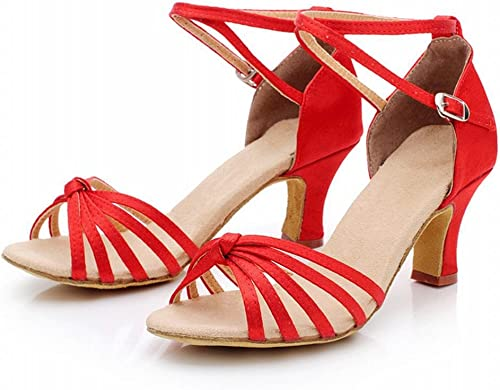 BYLE BYLE BYLE Adultes Femmes Sandales en Cuir à Bride Chaussures de Danse Modern'Jazz Samba Chaussures de Danse Latine avec des Chaussures de Danse d'amitié Bas Noeud Rouge da8