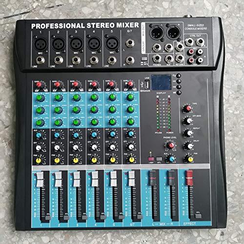 Tree-on-Life CT6 6 Canales Profesional Mezclador estéreo Procesador de Efectos vocales de la Consola de Audio en Vivo con Entrada estéreo Mono 4 Canales y 2 Canales