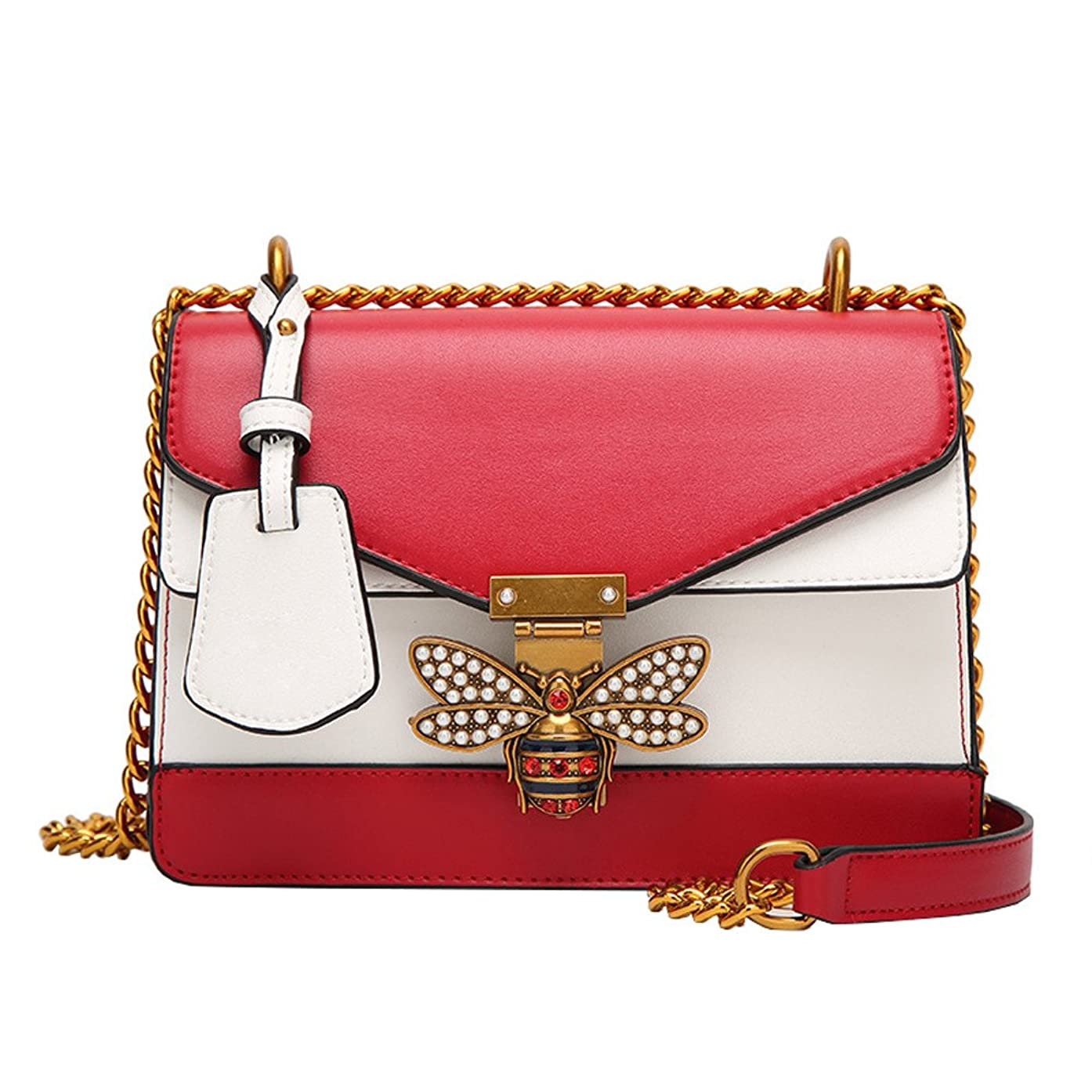 JJLIKER Designer Color Matching Shoulder Bag Fashion Bee Leather Handbag for Women, Fashion Chain Crossbody with Pearl