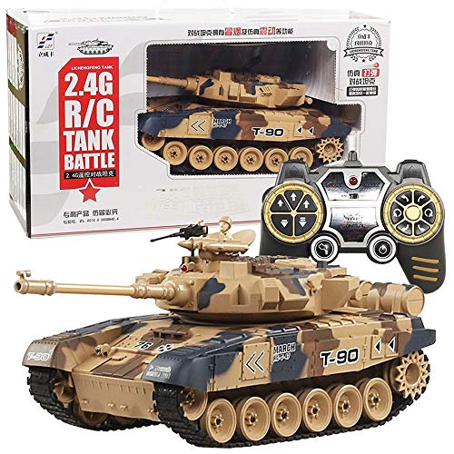 Kikioo Combate RC Tanque de batalla principal Rusia T90 Combate remoto Humo del tanque con sonido, torreta giratoria y acción de retroceso Cuando la artillería de cañón dispara 40 MHz para niños Niños