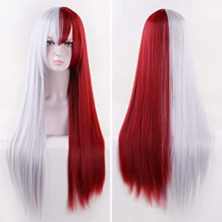 Missvig Red and White Cosplay Wig Long Straight Silver White and Dark Red with Bangs Ombre Synthetic Wig Hair Anime Costum...