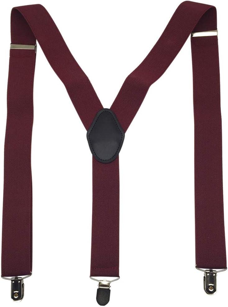 Navy Blue Mens Suspenders 1.4 Wide Adjustable Elastic Y Shape Trouser Braces
