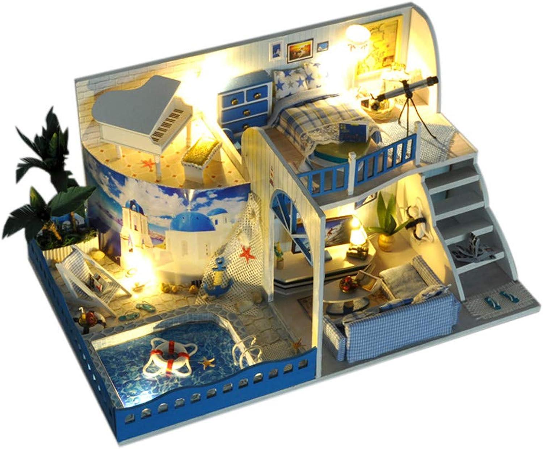 Peggy Gu Kinder Spielzeug Puppenhaus mit Mbeln DIY House Meet The Mediterranean Handwerk Montieren Modell Spielzeug Kreative Geburtstagsgeschenk Hlzerne DIY Dollhouse Mini Handmade K