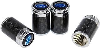Funsport Carbon Fiber Car Tire Valve Air Stem Cap Universal Car Logo Stem Cover 4 Piece Set Car Accessories (Fit Ford)