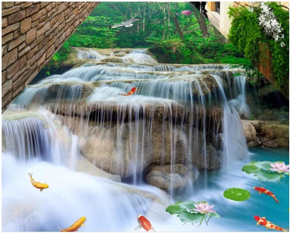 3D Flooring Waterfall Lotus carp Clearance SALE Limited time for Bathro Photo Wallpaper Special price Size