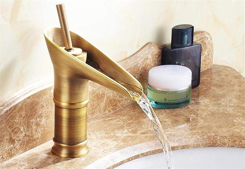 DYR Wasserhahn Waschbecken Wasserhahn In Vintage Style Antik Messing Finish Niedrige Waschbecken Wasserhahn