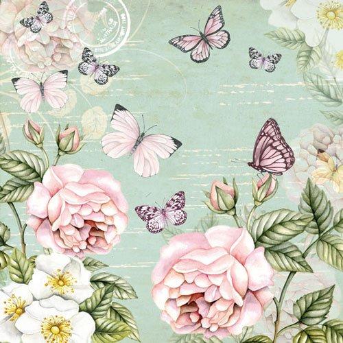 20 Servietten Schmetterlinge Butterfly Butterflies VintageTier Sommer Blumen 33 x 33
