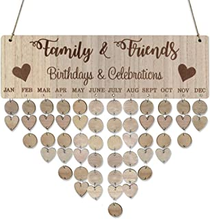 Weite Family Birthday Celebrations Calendar Wooden Crafts, Creative Wall Hanging Plaque Board for Family Friends Birthday Reminder with 50 Pieces Discs (A)
