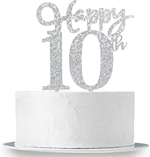 Happy 10th Cake Topper, Glitter Silver 10th Birthday Wedding Anniversary Party Cake Topper Decoration Sign