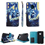 Starry Night Wallet Folio Case for Motorola Moto E4 Fashion Flip PU Leather Cover Card Cash Slots & Stand