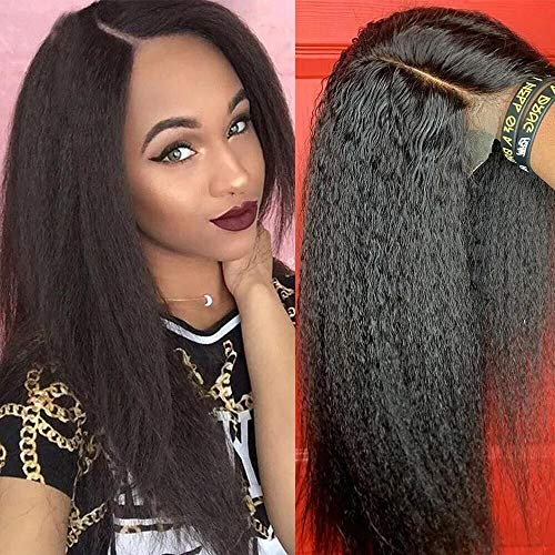 Middle Part Kinky Straight Wig Lace Front Human Hair Wigs Brazilian 13x4x1 T Part Lace Frontal Wig 150 Density Italian Yaki Human Hair Wig (22inch, Middle Part Lace)