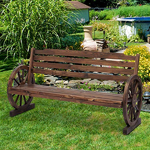 Wooden Rustic Wagon Wheel Bench, Outdoor Bench Seat, Patio 2-Person Bench with Backrest