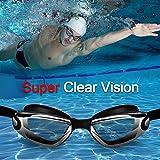 Schwimmbrille , otumixx Schwimmbrillen für Erwachsene Antibeschlag UV Schutz Verstellbar Gurt Komfort fit, Hrstöpsel & Nasenklammern mitgeliefert, Schwimmbrille für Herren Damen und Kinder - Schwarz - 4