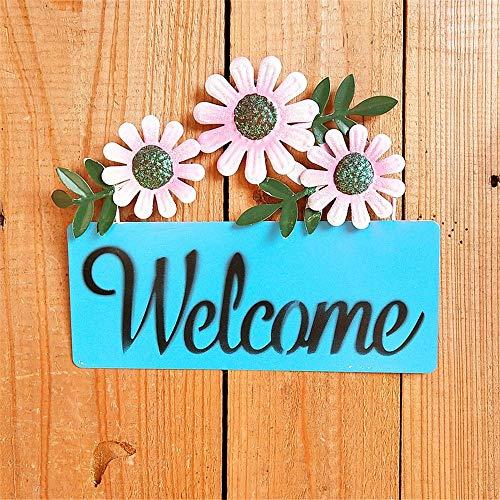 Wandhouder welkomstbord decor lichte 3 zonnebloemen tuingsteken metalen muurdecoratie kunst Sweet Home Welcome sign-plakje voor binnen en buiten voordeur tuin bar cafe store Gate