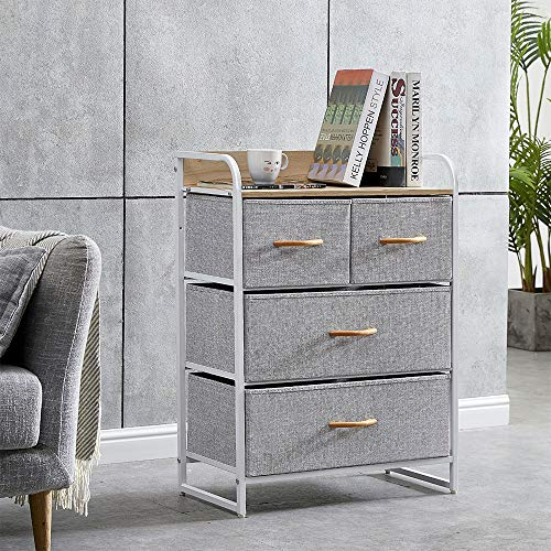 BOJU Bedroom Chest of Drawers for Clothes Living Room Unit Storage Cabinet with 4 Drawers for Hallway Kid Room Organizer Cabinet with Metal Frame Dark Grey Non-Woven Fabric Drawers