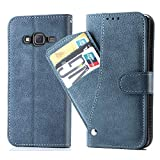 Asuwish Galaxy J5 2015 Wallet Case,Leather Phone Cases with Credit Card Holder Slot Slim Kickstand Stand Feature Flip Folio Protective Cover for Samsung Galaxy J5 2015 Women Girls Men Blue