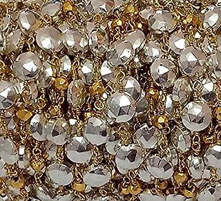 10pies plata Pirita facetas moneda oro Pirita rosario cadena de cuentas–24K chapado en oro perlas de cadena de alambre...