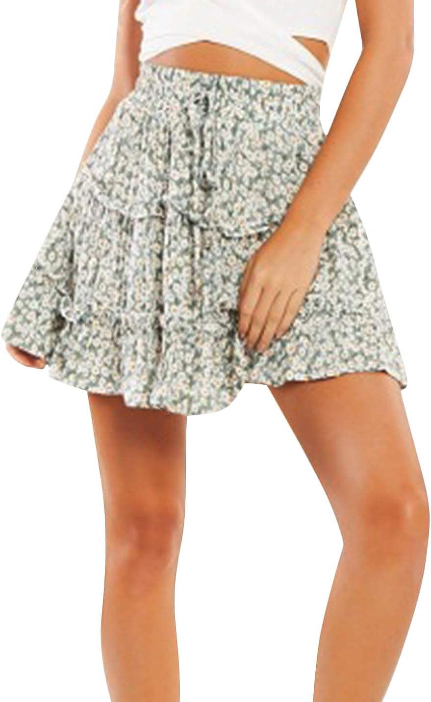 Uaneo Women's Casual High Waist Floral Print Pleated A Line Boho Mini Skirts (Green, X-Small)