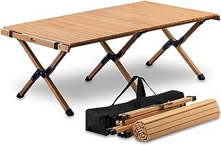 FIELDOOR ウッドロールトップテーブル 天然木 コンパクト 収納 簡単組立 収納バッグ付 ローテーブル インテリア キャンプ アウトドア