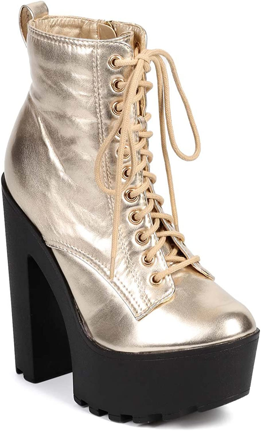 Fourever Funky Metallic gold Lace Up Lug Sole Platform Ankle Combat Boot