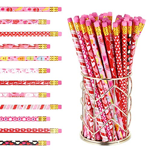 SUSSURRO 55 Pieces Valentines Day Pencil Loves Heart Pencils with Eraser Office Supplies Stationery for Kids Students Teachers Office Workers11 Styles