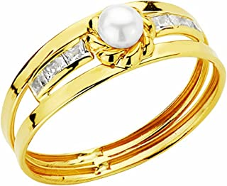 18K Gold Pearl Ring 3mm. Circonitas [Aa2389]