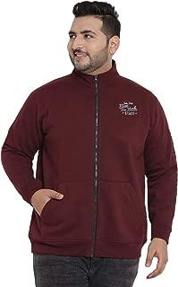 JOHN PRIDE Men's Fleece Maroon Plus Size Front Open Sweatshirt