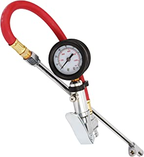 WYNNsky Tire Inflator with Tire Pressure Gauge, Extended Straight-on Air Chuck with 12 Inch Rubber Air Hose