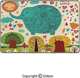 Non-Slip Carpet for Bedroom Living Room Elephants Decor,Illustration with Elephant Happy World Trees Leaves Hearts Love Children Art, 72x48x06inch Soft Rugs