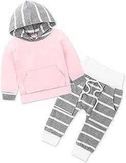 ARAUS Neonato Completini e Coordinati Bambina a Righe Maglietta Pantaloni e Capello 3 Pezzi 3-24 Mesi