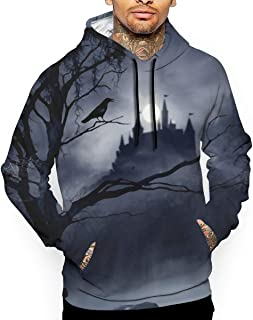 Gothic Castle Crow Raven Bird Men's Hooded Sweatshirt Sport for Men Long Sleeve Pullover Outwear Pockets Thick Clothing