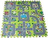 Y-BOA Tapis de Sol Puzzle 9 Pcs Circuit De Route Antidérapant Antichoc Jeu Imagination Bébé Taille 30*30*1cm Mousse
