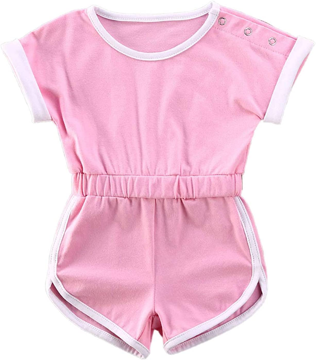 Qiylii Newborn Baby Girl Short Sleeve Solid Color Rompers One-Piece Jumpsuit Sweatsuit Summer Clothes