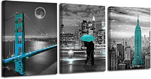 """Ardemy Canvas Wall Art Cityscape Teal Painting Golden Gate Bridge New York City Pictures, 16""""x20"""" x3 Panels Modern Ro..."""