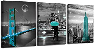 Ardemy Canvas Wall Art Cityscape Teal Painting Golden Gate Bridge New York City Pictures,..